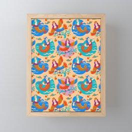 Firebirds and mermaids Framed Mini Art Print