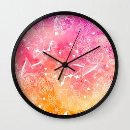Modern summer pink orange sunset watercolor floral hand drawn illustration Wall Clock
