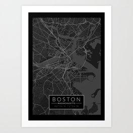 Boston Map - Black and White (Dark) Art Print