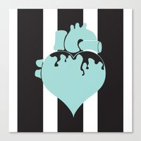 pastel goth Canvas Prints featuring Pastel Goth Heart by Minette Wasserman