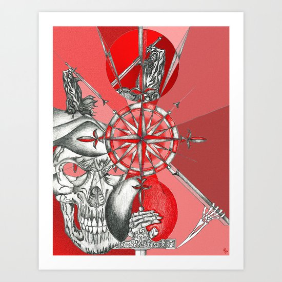 Red Samurai Reaper Art Print