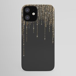 Luxury Chic Black Gold Sparkly Glitter Fringe iPhone Case
