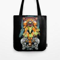 samus Tote Bags featuring Samus by Brandon C. Bader