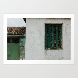 Abandoned street with green shutters in Maries | Colourful Travel Photography | Zakynthos, Greece (Zante) Art Print