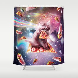 Outer Space Pizza Cat - Rainbow Laser, Taco, Burrito Shower Curtain