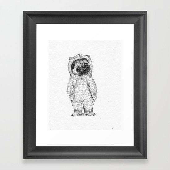 Winter pug Framed Art Print