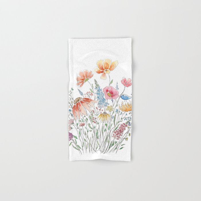 wild flower bouquet and blue bird- ink and watercolor 2 Hand & Bath ...