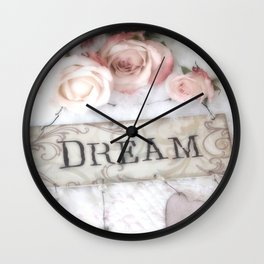 Shabby Chic Dream Roses Wall Clock