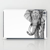 black cat iPad Cases featuring Ornate Elephant by BIOWORKZ