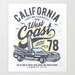 California Surfing Paradise West Coast Art Print
