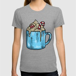 Cozy Candy Cane Hot Chocolate - Pastel Christmas T-shirt