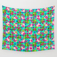 plaid Wall Tapestries featuring Confetti Plaid by Peter Gross