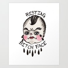 Resting B1&ch Face Cry Baby Art Print