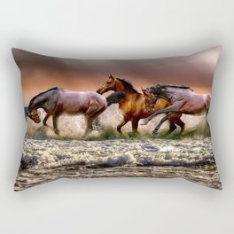 Runing Horses Rectangular Pillow