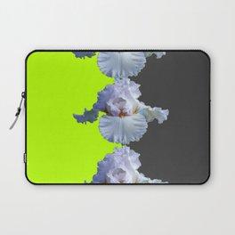 MODERN WHITE IRIS DIVIDED CHARTREUSE & GREY ART Laptop Sleeve