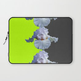 MODERN WHITE IRIS DIVIDED CHARTREUSE & GREY ART Laptop Sleeve