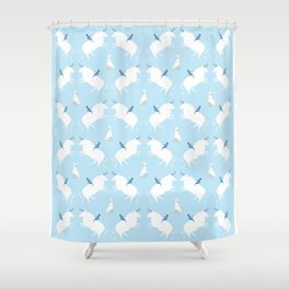 The Boy, the bull and the dog, blue Shower Curtain