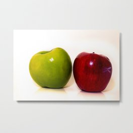 Red and green apple on white background Metal Print