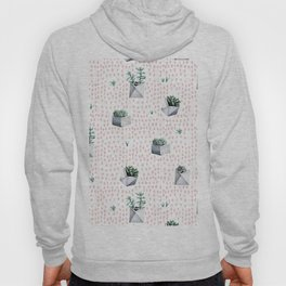 Potted Succulents Pink Polka Dots Hoody