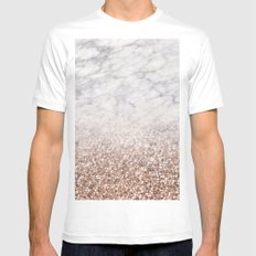 Bold ombre rose gold glitter - white marble MEDIUM Mens Fitted Tee White