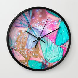 Turquoise butterflies on a pink background - lovely summer mood Wall Clock