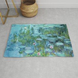 Claude Monet Water Lilies / Nymphéas teal aqua Rug