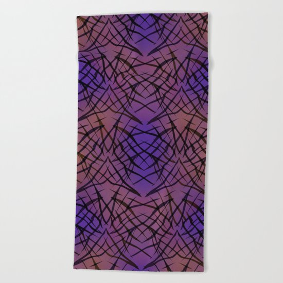 Abstract purple black pattern . Beach Towel