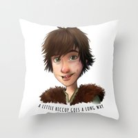 hiccup Throw Pillows featuring A little Hiccup goes a long way by Fla'Fla'