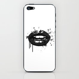 Black and white glamour fashion lips iPhone Skin