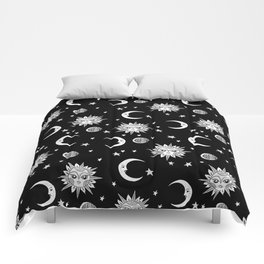 Linocut black and white sun moon and stars outer space zodiac astrology gifts Comforters