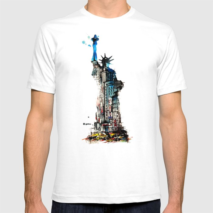 37e3a66afd6f87 Vintage Liberty New York City Travel Love Watercolor T-shirt by ...