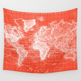 Vintage Map of The World (1833) Red & White Wall Tapestry