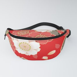 Japanese Vintage Red Black White Floral Kimono Pattern Fanny Pack