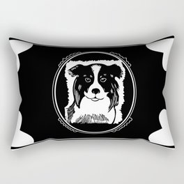 Border Collie Deco Border Black & White Art Rectangular Pillow