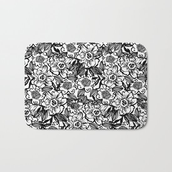 Ella - abstract floral flowers minimal modern black and white girly gender neutral boho painting Bath Mat