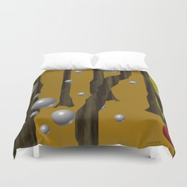 one red ball in the forest. Duvet Cover