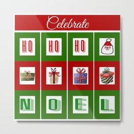 Celebrate the Noel - Merry Christmas with Santa and Presents Metal Print