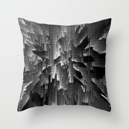 Flowers Exploding with Dots in Black and White Throw Pillow