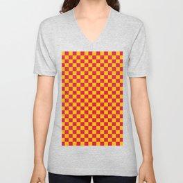 Amber Orange and Crimson Red Checkerboard Unisex V-Neck