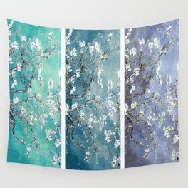 Van Gogh : Almond Blossoms Turquoise Teal Steel Blue Panel Art Wall Tapestry