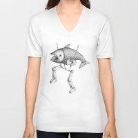 evolution V-neck T-shirts featuring 'Evolution I' by Alex G Griffiths