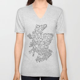 Scotland in one continuous line Unisex V-Neck