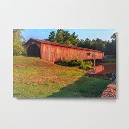 Sun Shining on Watson Mill Bridge Metal Print