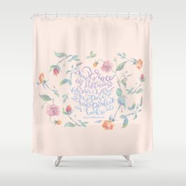My Grace is Sufficient - 2 Corinthians 12:9 / rose pink Shower Curtain