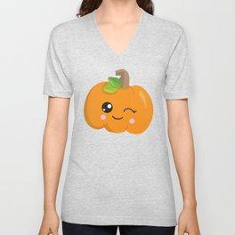 Winking Pumpkin, Orange Pumpkin, Halloween Unisex V-Neck