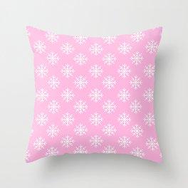 Snowflakes (White & Pink Pattern) Throw Pillow