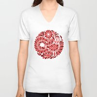 folk V-neck T-shirts featuring Folk Rooster by slovensky