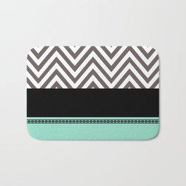Chevron Striped Seafoam, Gray, Black Bath Mat