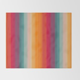 Retro Rainbow Striped Pattern Throw Blanket