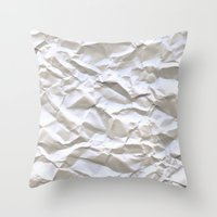 paper Throw Pillows featuring White Trash by pixel404
